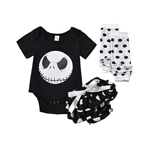 Geagodelia - Ropa para niña de Halloween con estampado de calavera para bebé + pantalones cortos + calentadores Negro 0- 3 meses