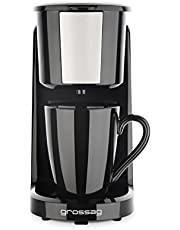 grossag Single-koffiezetapparaat KA 8.17 zwart-roestvrij staal 1-kops koffiezetapparaat 150ml permanent filter 380W