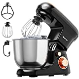 COSTWAY Stand Mixer, 6-Speed Tilt-Head Stand Mixer, 500W, Kitchen Electric Mixer with Dough Hook, Beater, Whisk, 5.3 Quart Stainless Steel Mixing Bowl and Splash Guard (Black)