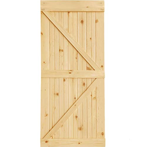 30 in. x 83.5 in. K-Bar Solid Core Pine Unfinished Interior Barn Door Slab Kit