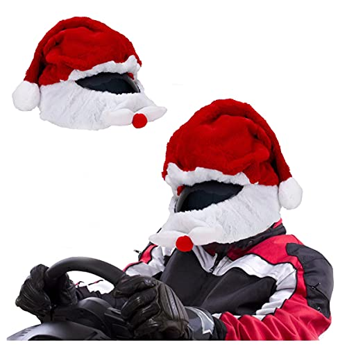 Santa Claus Motorcycle Helmet Cover,Coral Wool Motorcycle Helmet Santa Claus Hood Funny Outdoor Custom Custom Full Helmets Protection Cover
