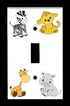 Single Toggle (1-toggle) Light Switch Plate Cover - Baby Safari Animals