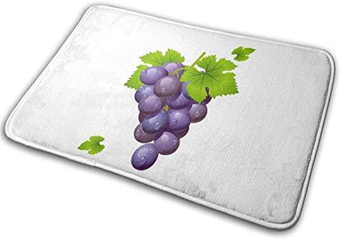 RedBean93 - Felpudo de entrada con diseño de uva con hojas, personalizable con logo de entrada, absorbente, lavable, antideslizante, alfombra de bienvenida, alfombra de cocina, baño, 40 x 60 cm
