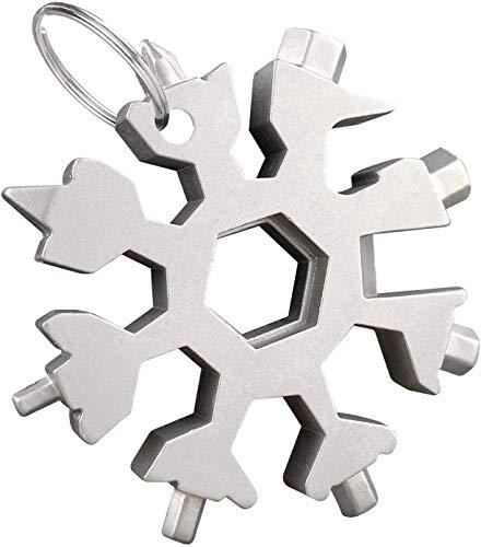 Herramienta múltiple de copo de nieve 18 en 1, herramienta de llavero de copo de nieve de acero inoxidable, destornillador para abridor, llavero, abridor de botellas, herramientas EDC para ext
