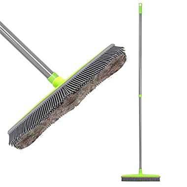 Push Broom Extra Long Handle Rubber Bristles Sweeper Squeegee Edge 55.1 inches Scratch Free Bristle Broom for Pet Cat Dog Hair Carpet Hardwood Tile Windows Clean Water Resistant (Grey)
