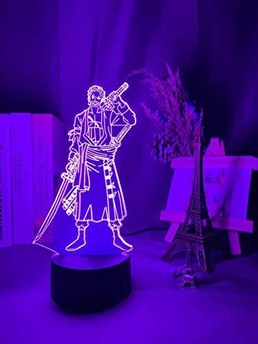 Luz nocturna 3D Roronoa Zoro figura LED luz nocturna para niños dormitorio decoración japonesa 3D Anime lámpara regalo fría lámpara de noche lámpara de noche ZGLQ