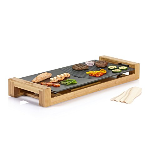 Princess 103025 Table Chef Pure Duo – Plancha y parrilla, 25 x 50 cm, 1800 W, estructura de bambú