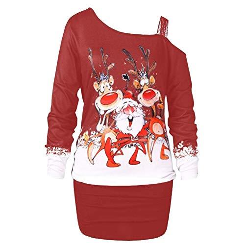 PcLeam Damen Weihnachtskleid Pullover Kleid Langarm Druck Lange Blusen Schulterfrei...
