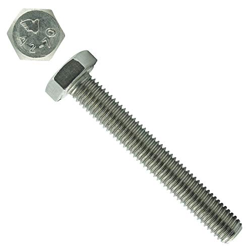 Eisenwaren2000 | Sechskantschrauben mit Gewinde bis Kopf M16 x 50 mm (10 Stück) - DIN 933 - ISO 4017 Sechskant Schrauben - Gewindeschrauben - Vollgewinde - Edelstahl A2 V2A - rostfrei