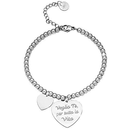 Beloved Bracciale da donna, braccialetto in acciaio emozionale - frasi, pensieri, parole con charms - ciondolo pendente - misura regolabile - incisione - argento (MOD 25)
