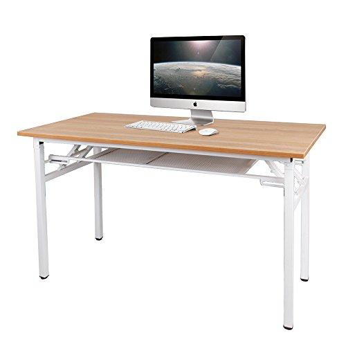 Need Schreibtisch Computertisch Arbeitstisch Bürotisch Holz, tragbar Konferenztisch Esstisch Klapptisch mit Gittertrennwand zur Lagrung...