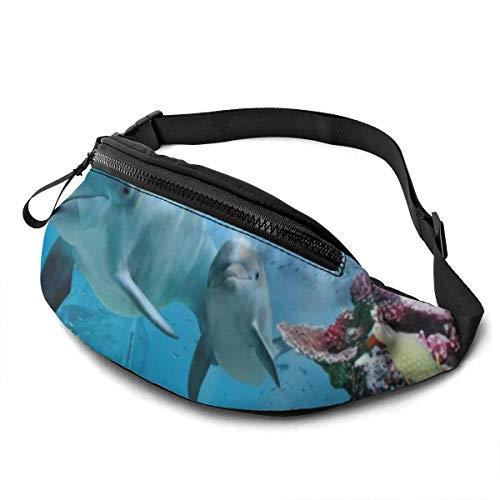 PULLA Riñonera Deportivo Bolso Cintura Cinturón Ajustable Running Belt Bolsa de Correr Delfines Tropicales