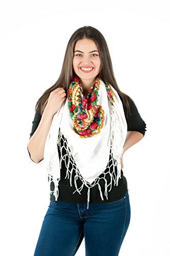 Große Stilvolles Schal-Tuch mit schönem,slawische Folklore Muster Winter 2016 Weiß