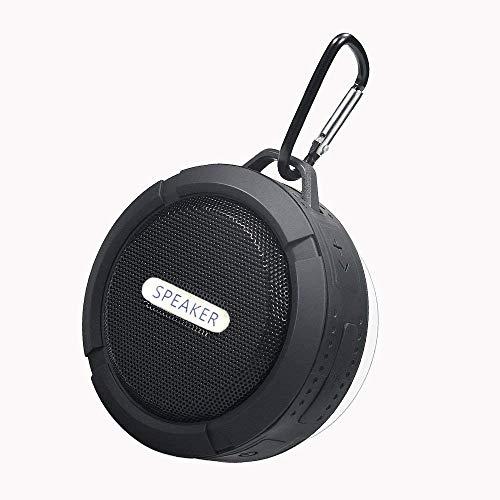 Waterproof Wireless Speaker,with 5W Driver,Suction Cup,Built-Mic,Hands Free Speakerphone-Black