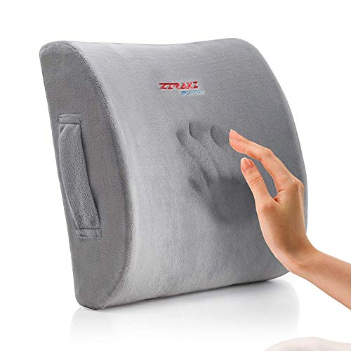 Lumbar Pillow Back Pain Support - Seat Cushion For Car or Office Chair | Memory Foam, Lower Back Pain Relief, Improve Your Posture, Protect & Soothe Your Back| Adjustable Extender Strap, Velvet Grey