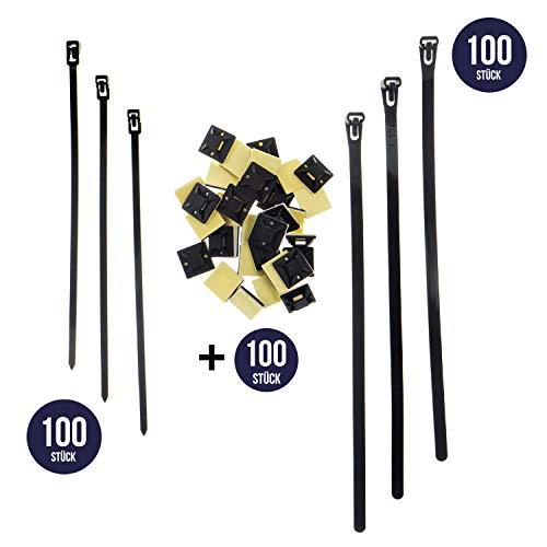 Wiederverwendbares Kabelbinder-Set (200 Stück, 200mm - 250mm), inkl. 100 Montagesockeln in schwarz lösbare, wiederverschließbar mehrweg, extra stark