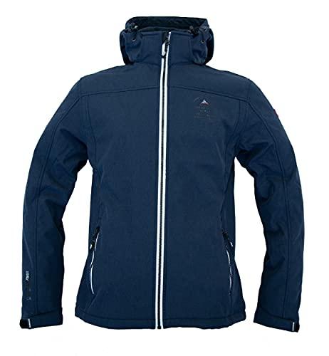 Nordberg Herren Softshell Jacke Trond in dunkelblau mit Abnehmbarer Kapuze und windgeschütztem Reißverschluss