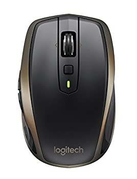 Logitech MX Anywhere 2 Wireless Mouse – Use On Any Surface Hyper-Fast Scrolling Rechargeable for Apple Mac or Microsoft Windows Computers and laptops Meteorite