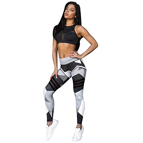 Napoo Clearance Women Geometry Print Colorblock Sports Gym Yoga Workout Athletic Leggings Pants (M, Gray)