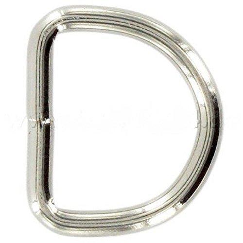 Preisvergleich Produktbild 30mm D-Ringe geschweißt aus Stahl,  vernickelt,  10 Stück