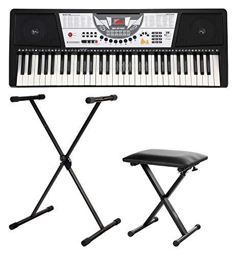 McGrey BK-6100 Keyboard SET inkl. höhenverstellbarem Ständer und Hocker (61 Tasten, 100 Klangfarben, 100 Rhythmen, 12 Demosongs, Lernfunktion, Netzteil, Notenständer, Bank, Stativ)