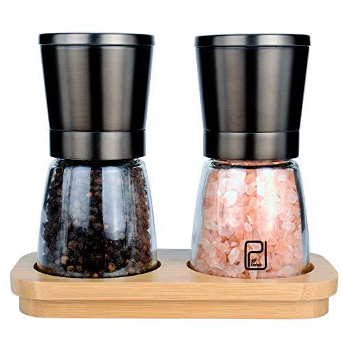 Schwarzes Edelstahl Gewürzmühle Set mit Ständer aus Bambus - Rotmetallgrauen Salz- und Pfeffermühlen mit verstellbarem Keramikmahlwerk - Schwarze Pfeffermühle und Salzmühlen Streuer-Set