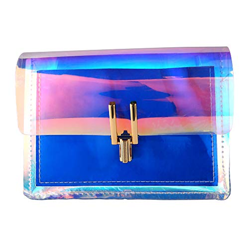 Cadena Transparente Bolsa De PVC Verano PU Colorido Monedero Congelado Bolsa De Hombro Bolso De Embrague para Teléfonos Móviles Carteras (Azul)