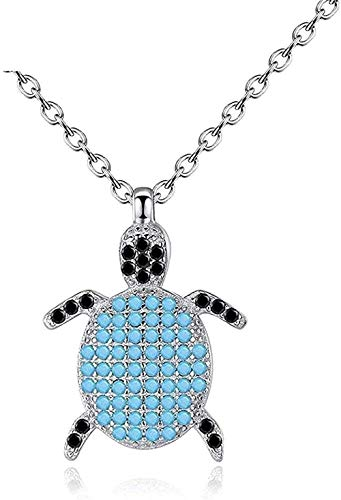 FACAIBA Necklace Woman Man Women's Pendant Necklace Blue Enamel and Crystal Turtle Pendant Necklace