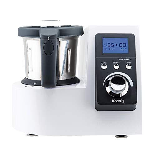H.Koenig Robot Culinaire Chauffant HKM1032 2.5L Inox Multifonctions 1300W, Professionnel, Facile d'utilisation, Menus pré-programmés, Fonction Turbo, Température Réglable avec Système Easy Pad Control