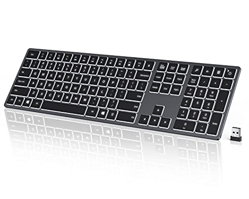 seenda Wireless Illuminated Keyboard Full Size Ultra Slim 2.4G Rechargeable Backlit Keyboard with Numeric Keypad for Computer Desktop PC Laptop Notebook Surface and Windows 10/8/7