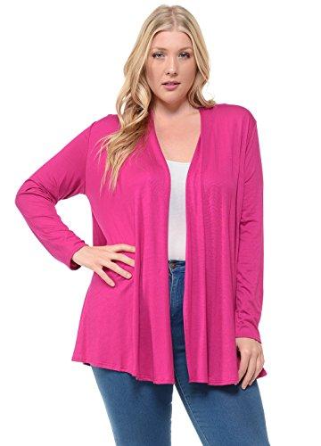Pastel by Vivienne Women's Long Sleeve Jersey Plus Size Cardigan XXX-Large Magenta