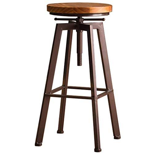 PLLP Sillas de escritorio, pub, taburete de bar, taburetes, barra de desayuno, cocina, bistro, altura ajustable, 63~83 cm, giratorio, estilo industrial retro,C