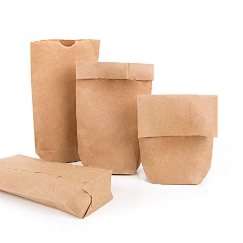 25 kleine braune Papiertüten natur Kraftpapier 9 x 15 x 3,5 cm Mini-Tüten Kreuzbodenbeutel Bodenbeutel Sackerl Verpackung Tischkarte Geschenk give-away Papierbeutel