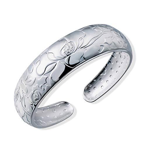 Epinki Damen 999 Sterling Silber Armband Offene Armreifen Blumen Muster Form Damenarmband Armschmuck Silber