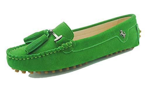 MINITOO Damen Quasten Slip-on Wildleder Leder Freizeit Slipper Mokassins Sommer Flache Schuhe Gras-Grün EU 38.5