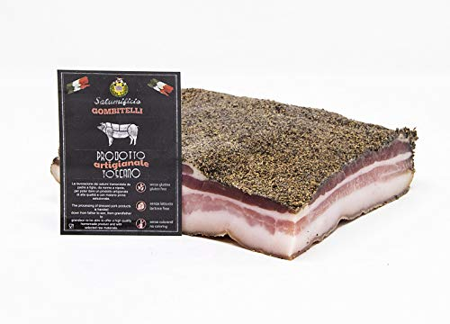 Pancetta Stesa (pancetta tesa, rigatino)   trancio sottovuoto da 1 kg   Salume artigianale Toscano   Salumificio Artigianale Gombitelli - Toscana