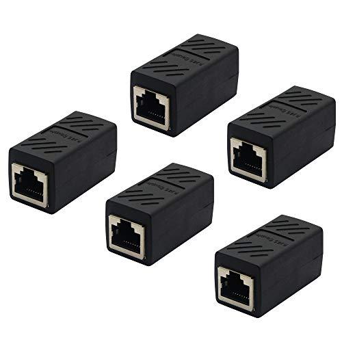 RJ45-Koppler, Ethernet-Kabelverlängerung, verbunden mit einem Adapter, LAN-Buchse auf Buchse, Extender-Stecker, kompatibel mit Cat7, Cat6a, Cat5a Netzwerk (5er-Pack)