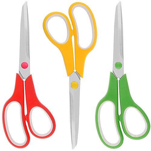 Olywee - Tijeras de oficina con cuchillas de titanio ultra afiladas, asas de agarre suave, tijeras multiusos para uso escolar y hogar, juego de 3