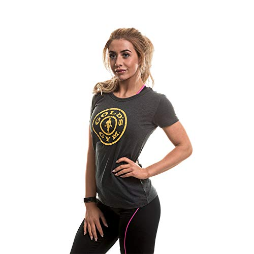 Gold's Gym Stronger Than The Boys Ladies Fitted Premium T-Shirt Camisa Deportiva, Gris (Charcoal Marl Charcoal Marl), X-Small para Mujer