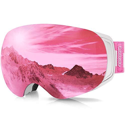 findway Skibrille für Brillenträger Herren Damen,Snowboardbrille mit Magnetischen Wechselgläsern, Rosa Verspiegelt Snowboard Brille Magnet Brillenträger Polarisierend