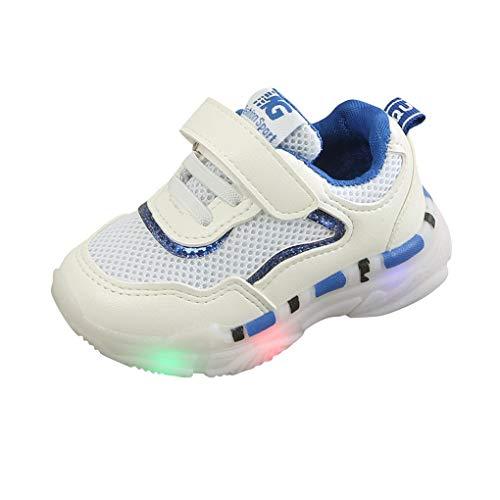 Dorical Unisex Babyschuhe Kleinkind Kinder Baby Schuhe mit Licht LED Leuchtschuhe Weiß Turnschuhe Blinkende Sneaker 21-30 Sportschuhe(Blau,26 EU)
