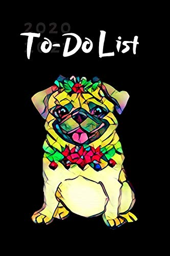 Stained Glass Christmas Pug Dog Cute Christmas Blank Gift To-Do List Book for Women or Man: Lined Journal Pocket Size at-A-Glance  Honey does Notes or Appointments