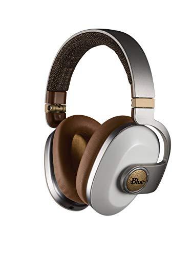 Blue Satellite Premium Wireless Noise-Cancelling Headphones with Audiophile Amp (White) (Renewed)