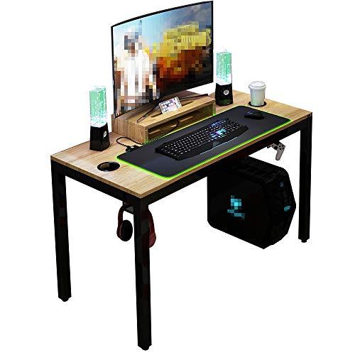 DlandHome Mesa de Juegos Pro para PC Todo en Uno para Computadora de Juegos con Alfombrilla de ratón RGB LED Game & Soporte de Pantalla 120 * 60cm Estación de Trabajo, Teca & Negro