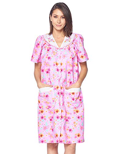 Casual Nights Women's Snap Front House Dress Short Sleeve Woven Housecoat Duster Lounger Robe, Floral Pink, Medium