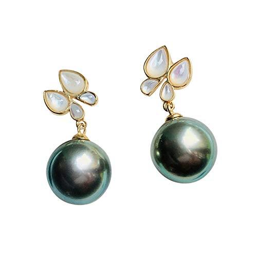YUN Clock Black Pearl Earrings 8-12MM Pearl Studs Earring 18K Gold Hypoallergenic Fine Jewelry for Women Christmas Birthday, C,9~10MM