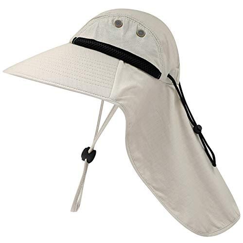 Chapeau de pêche Unisexe Chapeau de Soleil à Large Bord avec Rabat de Cou Chapeau de randonnée Chapeau de Chasse à Cordon réglable pour Le Camping de Voyage, Beige