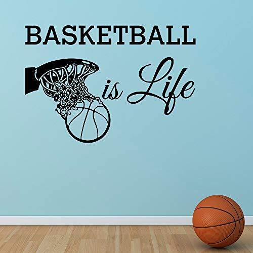 Basketball ist Leben Wandtattoo Zitat Basketballkorb Wand Sport Vinyl Aufkleber Kindergarten Kinder Teenager Jungen Zimmer Wand Kunst Wandbild 55X80CM