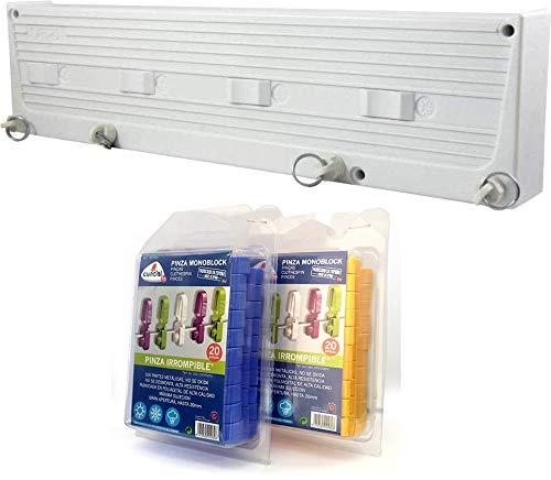 Bricolemar Tendedero Automático Cuncial de 4 Cuerdas Independientes en Pack Cuncial (Incluye 40 Pinzas Monoblock + Accesorios Fijación + Plantilla de Montaje)