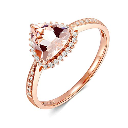 AMDXD Anillos Oro 18K, Anillos de Compromiso 1ct Triangular Morganita con 34pcs Diamante, Oro Rosa, Tamaño 12 (Perímetro: 52mm)